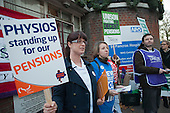 Early morning picket outside St.Pancras Hospital, London. Strike by public sector workers over pensions.