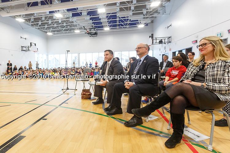 Inauguration Ecole St-Philippe, le 18 Janvier 2017 en presence du Ministre de l'Education Sebastien Roberge<br /> et du depute Merlini <br /> <br /> PHOTO : Agence Quebec Presse