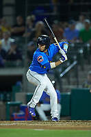 Carlos Sepulveda (7) of the Myrtle Beach Pelicans at bat against the Winston-Salem Dash at TicketReturn.com Field on May 16, 2019 in Myrtle Beach, South Carolina. The Dash defeated the Pelicans 6-0. (Brian Westerholt/Four Seam Images)