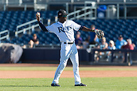 Peoria Javelinas shortstop Lucius Fox (5), of the Tampa Bay Rays organization, throws during an Arizona Fall League game against the Scottsdale Scorpions at Peoria Sports Complex on October 18, 2018 in Peoria, Arizona. Scottsdale defeated Peoria 8-0. (Zachary Lucy/Four Seam Images)