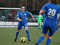 Silke Sneyers (2) of KRC Genk in action during a female soccer game between Oud Heverlee Leuven and Racing Genk on the 14 th matchday of the 2020 - 2021 season of Belgian Womens Super League , sunday 28 th of February 2021  in Heverlee , Belgium . PHOTO SPORTPIX.BE | SPP | SEVIL OKTEM