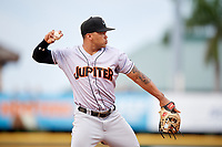 Jupiter Hammerheads third baseman Justin Twine (1) throws to first base while warming up in between innings during a game against the Bradenton Marauders on May 25, 2018 at LECOM Park in Bradenton, Florida.  Jupiter defeated Bradenton 3-2.  (Mike Janes/Four Seam Images)