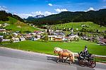 Austria, Salzburger Land, Tennengau, Russbach am Pass Gschuett with horse-drawn carriage | Oesterreich, Salzburger Land, Tennengau, Russbach am Pass Gschuett: Pferdekutsche