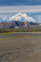 Summit of Denali and the McKinley river bar, Denali National Park, Alaska.