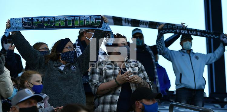 KANSAS CITY, KS - NOVEMBER 22: Sporting KC fans display their scarves before kick off before a game between San Jose Earthquakes and Sporting Kansas City at Children's Mercy Park on November 22, 2020 in Kansas City, Kansas.
