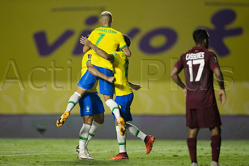 13th November 2020; Morumbi Stadium, Sao Paulo, Sao Paulo, Brazil; World Cup 2022 qualifiers; Brazil versus Venezuela;  Roberto Firmino of Brazil celebrates his goal in the 67th minute 1-0 with team, mate Richarlison