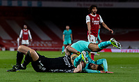 April 3rd 2021; Emriates Stadium, London, England;  Liverpools Mohamed Salah clatters into Arsenals goalkeeper Bernd Leno during the Premier League match between Arsenal and Liverpool at the Emirates Stadium in London