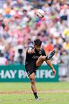 Rocky Khan of New Zealand kicks the ball during the HSBC Hong Kong Sevens 2018 match between New Zealand and Samoa on April 7, 2018 in Hong Kong, Hong Kong. Photo by Marcio Rodrigo Machado / Power Sport Images
