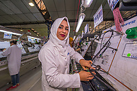 Besma works on the assembly line of the Leoni Mateur German car-wiring factory in Bizerte, Tunisia. Out of 5000 workers here 80 percent are women. The pay depends on the skill but the average workers makes about 400 Dinar or $200 a month. Besma is single and lives with her parents in the low-income area of Douar Hicher. She rides the bus over an hour every day to get here. This company employs mostly women as they feel they apply themselves better than men to this specific focused conveyor belt factory work. It also helps give unskilled women employment opportunities, especially since tourism in the country has dropped.  <br /> Her family is very strict and she has to wear the veil because she lives in a very religious family and neighborhood. She is happy that her family let her go to work every day. She manages to save from her salary and finds it fulfilling because she has a job. She would like to stay with this company and get a promotion. Besma dreams of getting married and having a family one day.