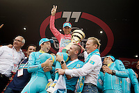 GC winner Vincenzo Nibali (ITA/Astana) celebrated by his teammates (& manager Alexander Vinokourov) on the podium<br /> <br /> stage 21: Cuneo - Torino 163km<br /> 99th Giro d'Italia 2016
