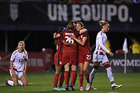 San Diego, CA - Sunday January 21, 2018: Crystal Dunn, Savannah McCaskill, Christen Press prior to an international friendly between the women's national teams of the United States (USA) and Denmark (DEN) at SDCCU Stadium.