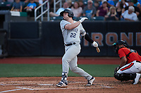 Josh Breaux (22) of the Hudson Valley Renegades follows through on his swing against the Aberdeen IronBirds at Leidos Field at Ripken Stadium on July 23, 2021, in Aberdeen, MD. (Brian Westerholt/Four Seam Images)