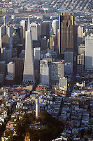 aerial photograph Coit Tower, Transamerica Pyramid, 555 California Street, skyscrapers San Francisco