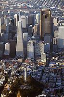 aerial photograph Coit Tower, Transamerica Pyramid, 555 California Street, skyscrapers San Francisco