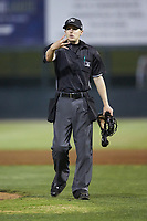 Home plate umpire Matt Baldwin works the South Atlantic League game between the Hickory Crawdads and the Piedmont Boll Weevils at Kannapolis Intimidators Stadium on May 3, 2019 in Kannapolis, North Carolina. The Boll Weevils defeated the Crawdads 4-3. (Brian Westerholt/Four Seam Images)