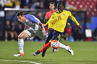 United States' midfielder Matt Polster (3) fouls Colombia's defender Cristian Borga  (16) during second half of a U-23 Olympic qualifying soccer match, in Frisco, TX. Tuesday, Mar 29, 2016. Colombia qualified for 2016 Rio Olympics with a 2-1 victory. (TFV Media via AP) *Mandatory Credit*
