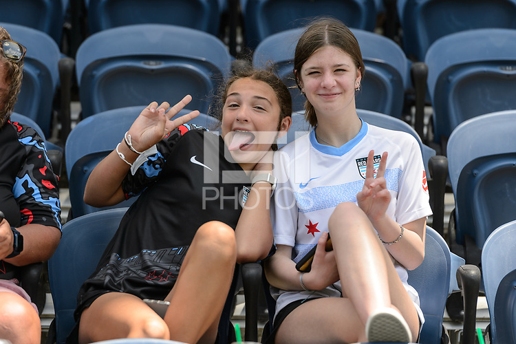 BRIDGEVIEW, IL - JUNE 5: Chicago Red Stars fans pose for a photo before a game between North Carolina Courage and Chicago Red Stars at SeatGeek Stadium on June 5, 2021 in Bridgeview, Illinois.