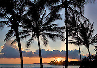 Sunset at Poipu Beach. Kauai, Hawaii