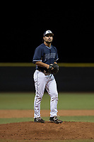 AZL Padres 2 relief pitcher Hazahel Quijada (28) prepares to deliver a pitch during an Arizona League game against the AZL Padres 1 at Peoria Sports Complex on July 14, 2018 in Peoria, Arizona. The AZL Padres 1 defeated the AZL Padres 2 4-0. (Zachary Lucy/Four Seam Images)