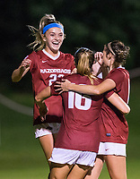 NWA Democrat-Gazette/BEN GOFF @NWABENGOFF<br /> Parker Goins (from left), Arkansas forward, celebrates with Anna Podojil and Taylor Malham after making a goal in the second half vs Vanderbilt Thursday, Sept. 26, 2019, at Razorback Field in Fayetteville.