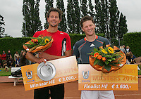 August 17, 2014, Netherlands, Raalte, TV Ramele, Tennis, National Championships, NRTK, Mens Final : prize giving, Jasper Smit (NED) winner,  Nick van der Meer (R)  runner up<br /> Photo: Tennisimages/Henk Koster