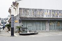 Suzhou, Jiangsu, China.  Street Monument to an Embroidery Artist.