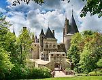 Front view of the Château de La Rochepot, near Beaune in Burgundy, France.