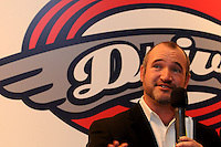 Mike deMaine, general manager of the Greenville Drive, speaks to fans of the Drive at the team's annual Hot Stove Event on Tuesday, January 29, 2013, in Greenville, South Carolina. (Tom Priddy/Four Seam Images)