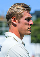 NZ's Kyle Jamieson during day four of the International Test Cricket match between the New Zealand Black Caps and India at the Basin Reserve in Wellington, New Zealand on Monday, 24 February 2020. Photo: Dave Lintott / lintottphoto.co.nz