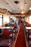 dining room with music stage on train wagon