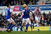 Ipsich Town's Matthew Pennington battles with Stoke City's James McClean<br /> <br /> Photographer Hannah Fountain/CameraSport<br /> <br /> The EFL Sky Bet Championship - Ipswich Town v Stoke City - Saturday 16th February 2019 - Portman Road - Ipswich<br /> <br /> World Copyright © 2019 CameraSport. All rights reserved. 43 Linden Ave. Countesthorpe. Leicester. England. LE8 5PG - Tel: +44 (0) 116 277 4147 - admin@camerasport.com - www.camerasport.com