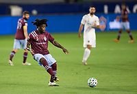 CARSON, CA - SEPTEMBER 19: Lalas Abubakar #6 of the Colorado Rapids passes off the ball during a game between Colorado Rapids and Los Angeles Galaxy at Dignity Heath Sports Park on September 19, 2020 in Carson, California.