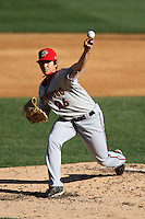 April 10, 2010:  Pitcher Tom Milone of the Harrisburg Senators during a game at Blair County Ballpark in Altoona, PA.  Harrisburg is the Double-A Eastern League affiliate of the Washington Nationals.  Photo By Mike Janes/Four Seam Images