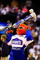 Charlotte Bobcats mascot Rufus rallies the crowds with the help of Kobalt and Lowe's during the NBA 2010 playoff game four between the Charlotte Bobcats and Orlando Magic at Charlotte's Time Warner Cable Arena. The Charlotte Bobcats, which play in Time Warner Cable Arena in downtown Charlotte, are part of the Southeastern Division of the National Basketball Association's Eastern Conference.