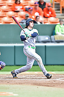 Notre Dame Fighting Irish first baseman Zak Kutsulis (16) swings at a pitch during a game against the Clemson Tigers during game one of a double headers at Doug Kingsmore Stadium March 14, 2015 in Clemson, South Carolina. The Tigers defeated the Fighting Irish 6-1. (Tony Farlow/Four Seam Images)