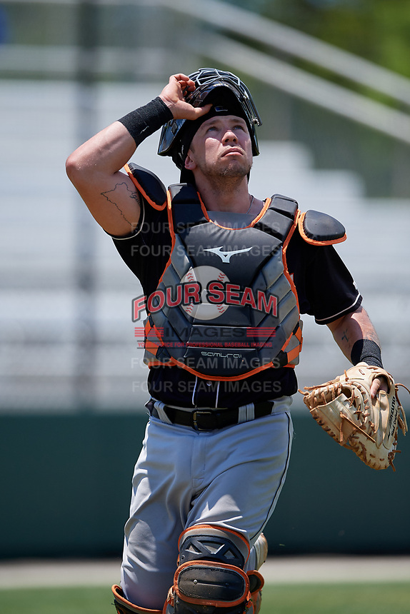 Jupiter Hammerheads catcher B.J. Lopez (18) during a Florida State League game against the Dunedin Blue Jays on May 16, 2019 at Jack Russell Memorial Stadium in Clearwater, Florida.  Dunedin defeated Jupiter 1-0.  (Mike Janes/Four Seam Images)