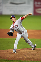 Auburn Doubledays pitcher Grant Borne (37) delivers a pitch during a game against the Batavia Muckdogs on July 10, 2015 at Dwyer Stadium in Batavia, New York.  Auburn defeated Batavia 13-1.  (Mike Janes/Four Seam Images)
