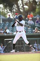 Edwin Yon (48) of the Cucuys de San Bernardino bats against the los Toros de Visalia at San Manuel Stadium on July 11, 2021 in San Bernardino, California. (Larry Goren/Four Seam Images)
