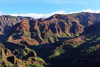 A rim-to-river view of Waimea Canyon, as seen from the Kukui Trail, Kaua'i.