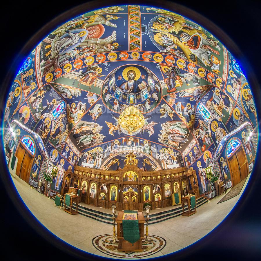 Fisheye lens view of Holy Trinity Serbian Orthodox Church, Butte, Montana