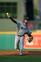 Dayton Dragons pitcher Lyon Richardson (4) during a game against the Fort Wayne TinCaps on August 25, 2021 at Parkview Field in Fort Wayne, Indiana.  (Mike Janes/Four Seam Images)