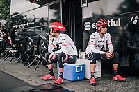 Haimar Zubeldia (ESP/Trek-Segafredo) & Koen de Kort (NED/Trek-Segafredo) waiting for the course to be opened to the riders for recon<br /> <br /> <br /> 104th Tour de France 2017<br /> Stage 1 (ITT) - Düsseldorf › Düsseldorf (14km)