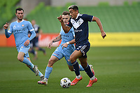 6th June 2021; AAMI Park, Melbourne, Victoria, Australia; A League Football, Melbourne Victory versus Melbourne City; Ben Folami of the Victory sprints away from Scott Galloway of Melbourne City