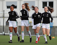 Lina Meeuwis (19) of OHL, Valesca Ampoorter (23) of OHL, Marie Detruyer (17) of OHL and Estee Cattoor (11) of OHL entering the pitch for the warm up before a female soccer game between Oud Heverlee Leuven and RSC Anderlecht on the fifth matchday of the 2021 - 2022 season of Belgian Womens Super League , sunday 3 October 2021  in Leuven , Belgium . PHOTO SPORTPIX.BE   SEVIL OKTEM