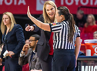 COLLEGE PARK, MD - FEBRUARY 9: Brenda Frese coach of Maryland talks to an official during a game between Rutgers and Maryland at Xfinity Center on February 9, 2020 in College Park, Maryland.