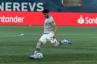 FOXBOROUGH, MA - SEPTEMBER 23: Emanuel Maciel #25 of Montreal Impact passes the ball during a game between Montreal Impact and New England Revolution at Gillette Stadium on September 23, 2020 in Foxborough, Massachusetts.