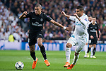 Real Madrid Carlos Henrique Casemiro and PSG Kylian Mbappe during Eight Finals Champions League match between Real Madrid and PSG at Santiago Bernabeu Stadium in Madrid , Spain. February 14, 2018. (ALTERPHOTOS/Borja B.Hojas)