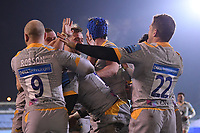 8th January 2021; Recreation Ground, Bath, Somerset, England; English Premiership Rugby, Bath versus Wasps; Paolo Odogwu of Wasps celebrates with his team after scoring a try
