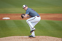 Concord Mountain Lions relief pitcher Tucker Perry (51) in action against the Wingate Bulldogs at Ron Christopher Stadium on February 1, 2020 in Wingate, North Carolina. The Bulldogs defeated the Mountain Lions 8-0 in game one of a doubleheader. (Brian Westerholt/Four Seam Images)