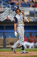 Brooklyn Cyclones right fielder Gene Cone (23) at bat during a game against the Batavia Muckdogs on July 5, 2016 at Dwyer Stadium in Batavia, New York.  Brooklyn defeated Batavia 5-1.  (Mike Janes/Four Seam Images)